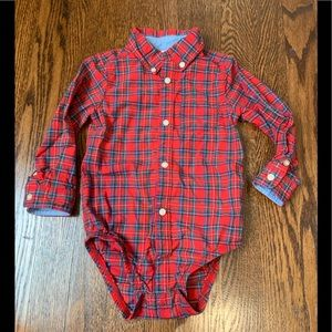 LIKE NEW Carter's Plaid Cotton Button-Down Onesie